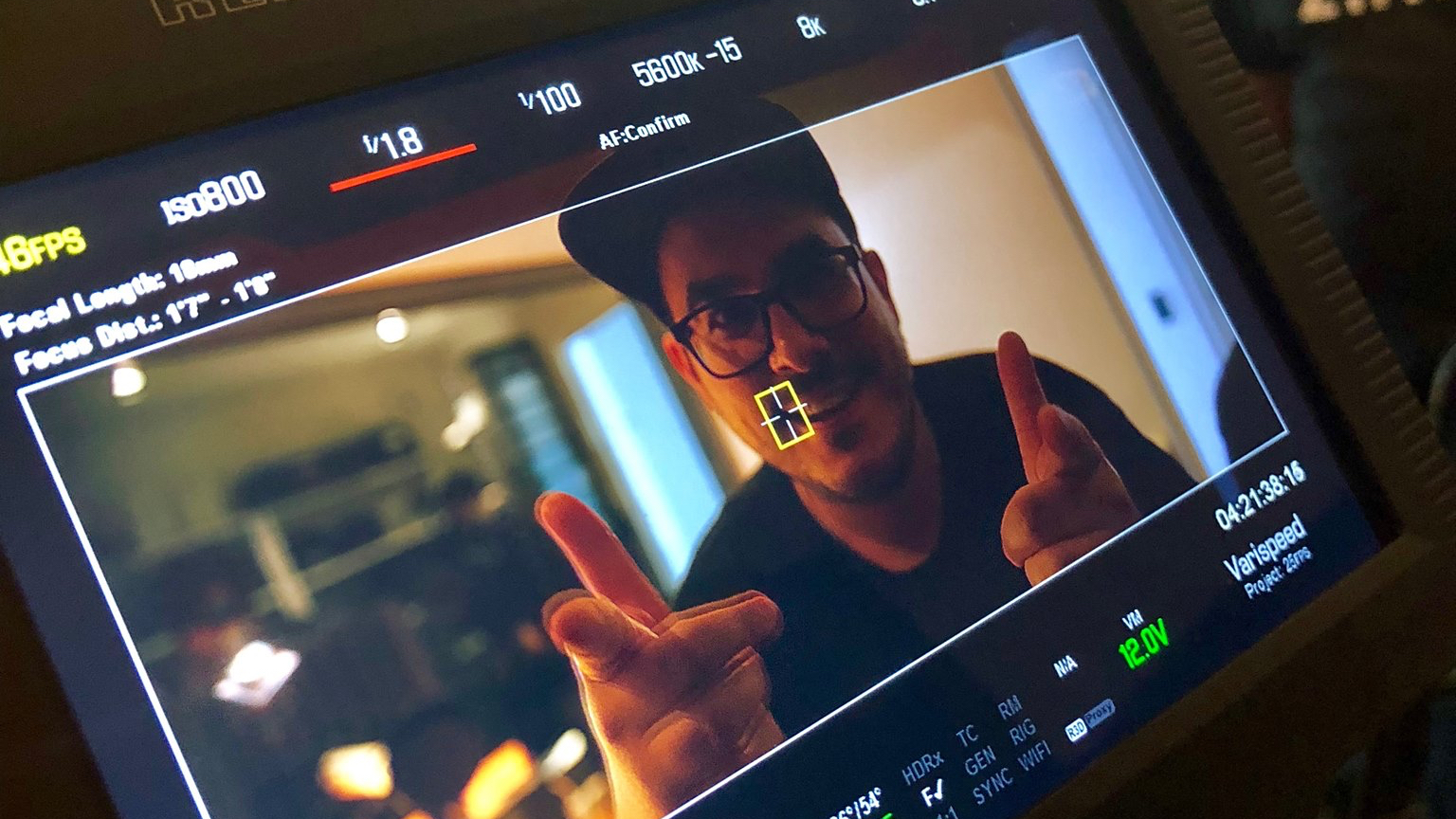 This is me in the viewfinder of a RED Epic Camera.